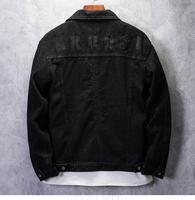KSTUN Famous Brand Jean Jackets for Men Denim Jacket Solid Black Casual Embroidered Letters Fashion Desinger Man Classic Outwear Coats 11