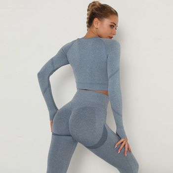 Seamless Women Sport Set For Gym Long Sleeve Top High Waist Belly Control Leggings Clothes Seamless Sport Suit Sexy Booty Girls 3