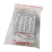 255PCS 1N4001 1N4004 1N4007 1N5408 UF4007 FR307 1N5819 1N5822 6A10 10A10 Troca Rápida De Retificador Schottky Diode Assorted Kit