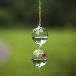 Średnica = 15cm dekoracje ślubne wiszące szklane terrarium dwie wiszące stawu skokowego wazon przyjaciel prezent urodzinowy upominek weselny Wate