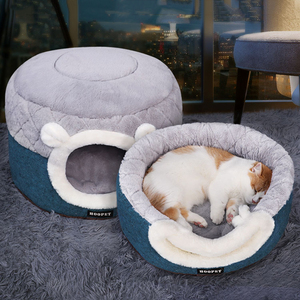 Image 2 - HOOPET Cat Bed House Soft Plush Kennel Puppy Cushion Small Dogs Cats Nest Winter Warm Sleeping Pet Dog Bed Pet Mat Supplies