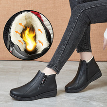Wedges Boots Furry Shoes Black Fluffy Women Winter Woman Solid Ankle