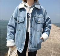 Bella Philosophy Winter Fur Denim Jacket Women Bomber Jacket Long Sleeve Washed Blue Jeans Jacket Coat Warm Lining Front Button