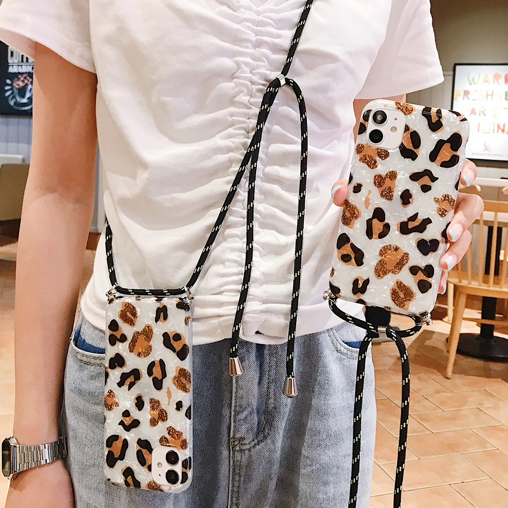 <font><b>Sexy</b></font> Leopard Shoulder Strap Phone <font><b>Case</b></font> For <font><b>iPhone</b></font> 11 Pro Max XS Max XR X <font><b>7</b></font> 8 Plus SE 2020 Lanyards with Rope Soft IMD back Cover image