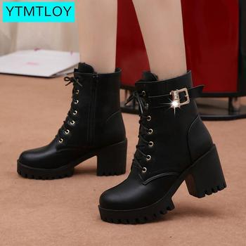 Fashion  women leather autumn winter round toe high heels shoes female lace-up black  platform ankle boots platform boots gothic