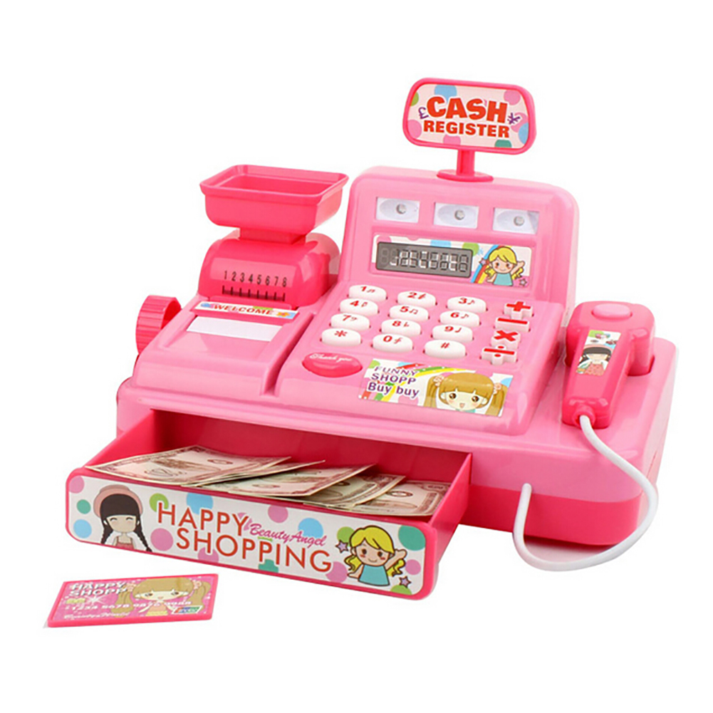 Kids Cash Register Toy Child Simulated Music Light Market Cash Register Kids Role Play Puzzle Toy Gift Early Educational Toys