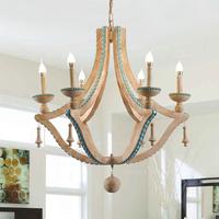 Solid wood chandeliers nordic turquoise lighting loft decor living room foyer chandeliers lobby bohemian european light fixtures