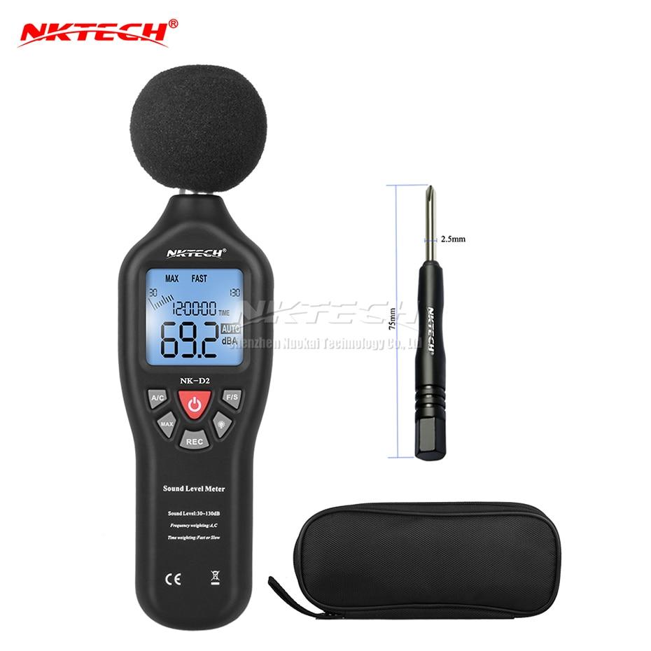 NKTECH 30-130dB LCD Digital Sound Level Decibel Mètre Logger Tester Bruit Mesure Temps Affichage Arrêt Automatique De Configuration NKD2 VS MS6701