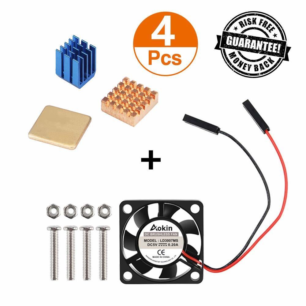 Raspberry Pi Cooling Fan 30x30x7mm Brushless CPU Cooling Fan Heatsink Aluminum + Copper For Raspberry Pi 3 B+ Pi 3 B Pi 2 B