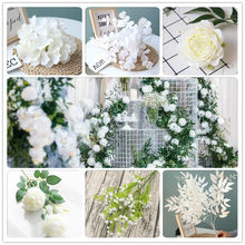 20pcs White Color Artificial Flower Wedding Rose Peony Hydrangea Plant Bridal Bouquet Wedding Decoration DIY Home Fake Flowers white color artificial flower wedding rose peony hydrangea plant bridal bouquet wedding decoration diy home party fake flowers