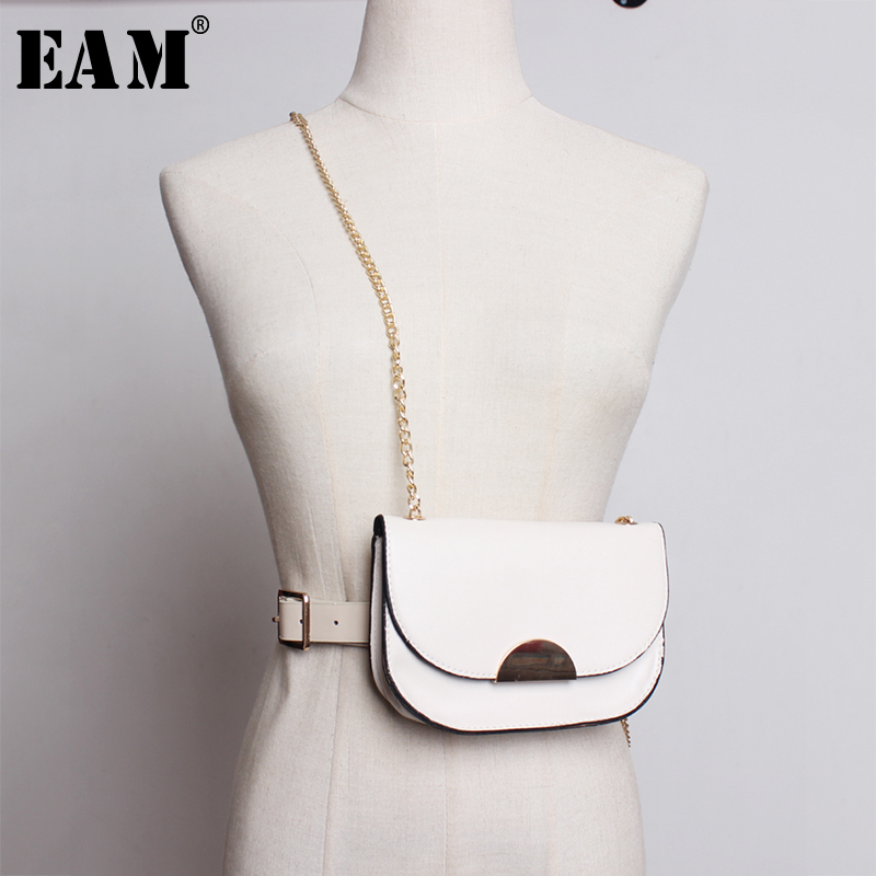 [EAM] Women Long Chain Mini-bag Square Buckle New Pu Leather Belt Personality Accessories Fashion Spring Autumn 2020 JZ672