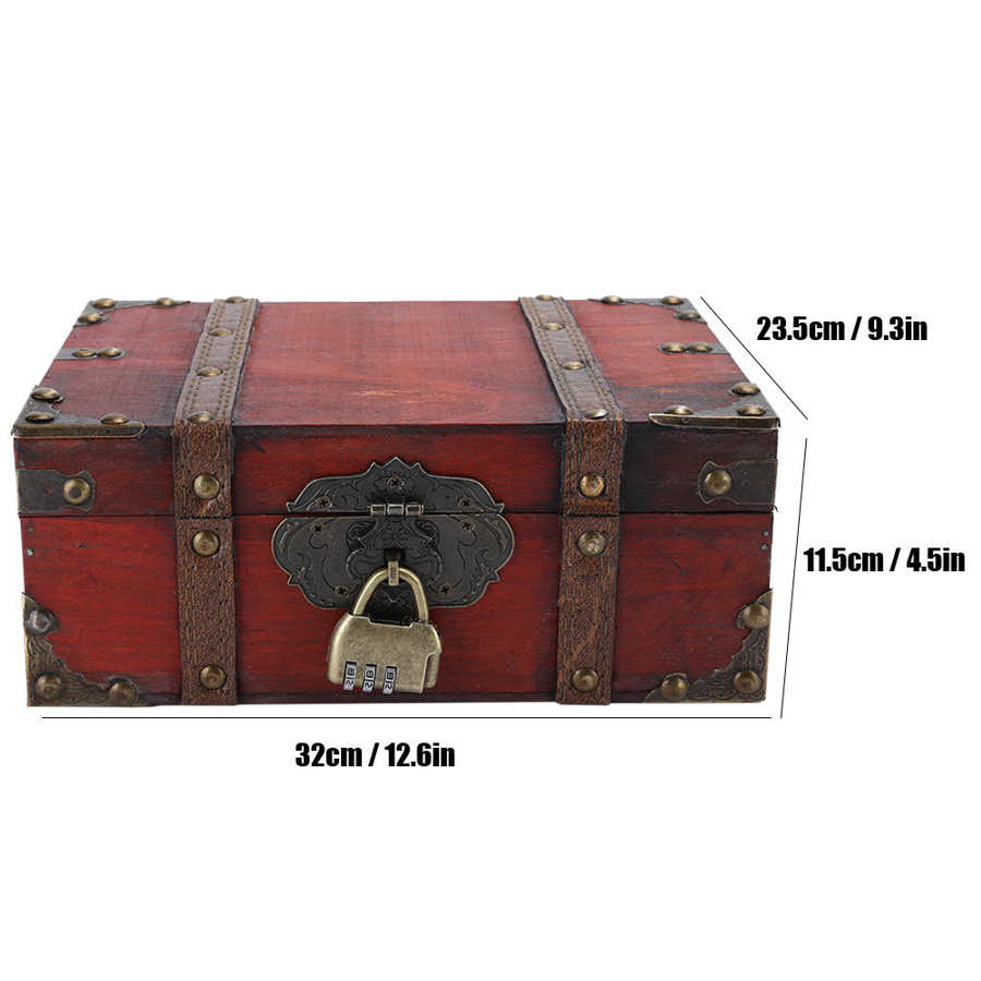 Vintage Wooden Jewerly Storage Box Decorative Treasure Case Jewelry Chest with Lock Jeweler Home Decoration Trinket