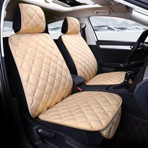 Image 3 - Uniwersalny pluszowe pokrycie siedzenia samochodu zima ciepłe Faux Auto przód tył oparcia siedzenia poduszka wnętrze akcesoria Protector