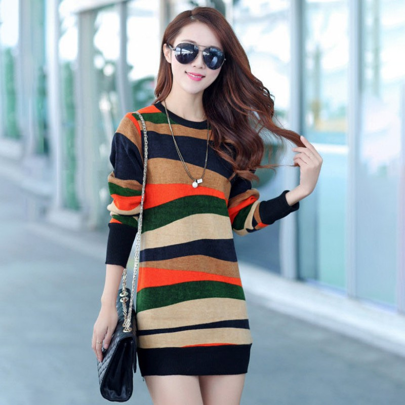 Women's Autumn And Winter New Thickening Plus Velvet Korean Striped Sweater Dress O Neck Long Sleeve Sweater Mini Dress!