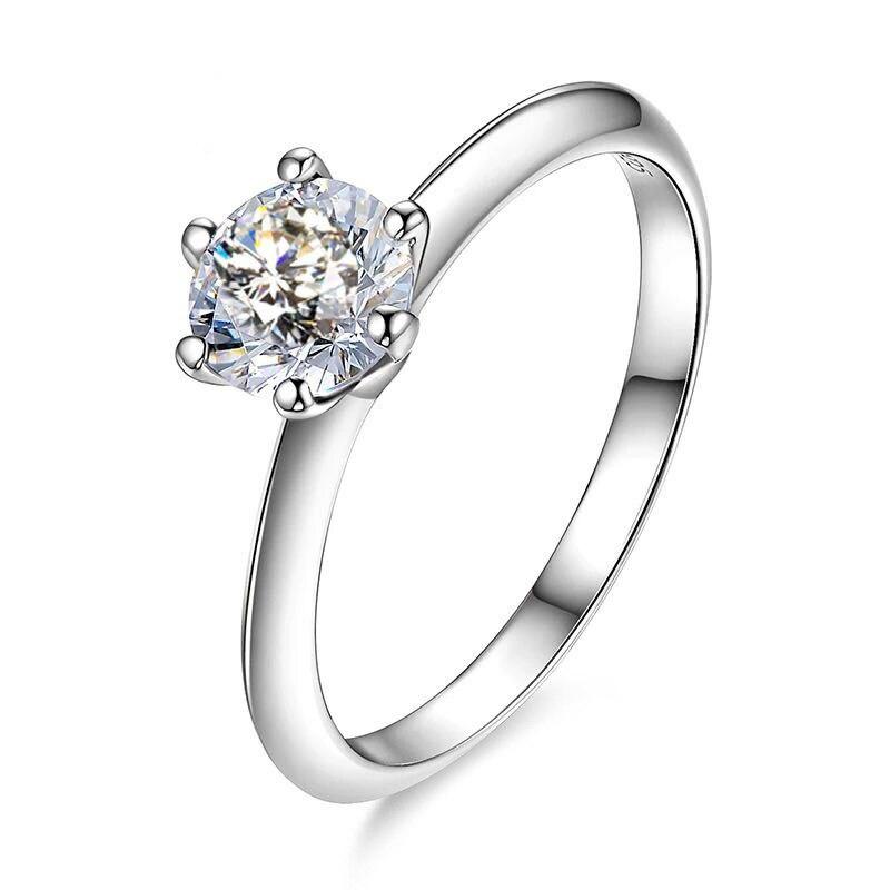 Bling 2.0ct D couleur platine plaqué or S925 argent Sterling Moissanite mariage bagues de fiançailles bande femmes diamant Test passé