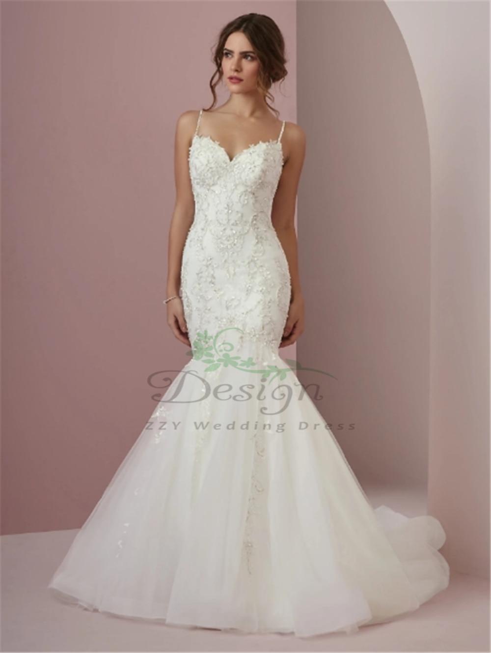 Charming White Tulle Embroidery Beading Vestido De Noiva Sereia Spaghetti Straps Dropped Sweep Train Mermaid Wedding Dresses