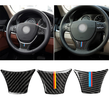 For BMW New 5 Series 2011-2017 528 525Li F10 F18 Car Steering Wheel Sticker For Carbon Fiber Frame Decal 3D Interior Accessories image