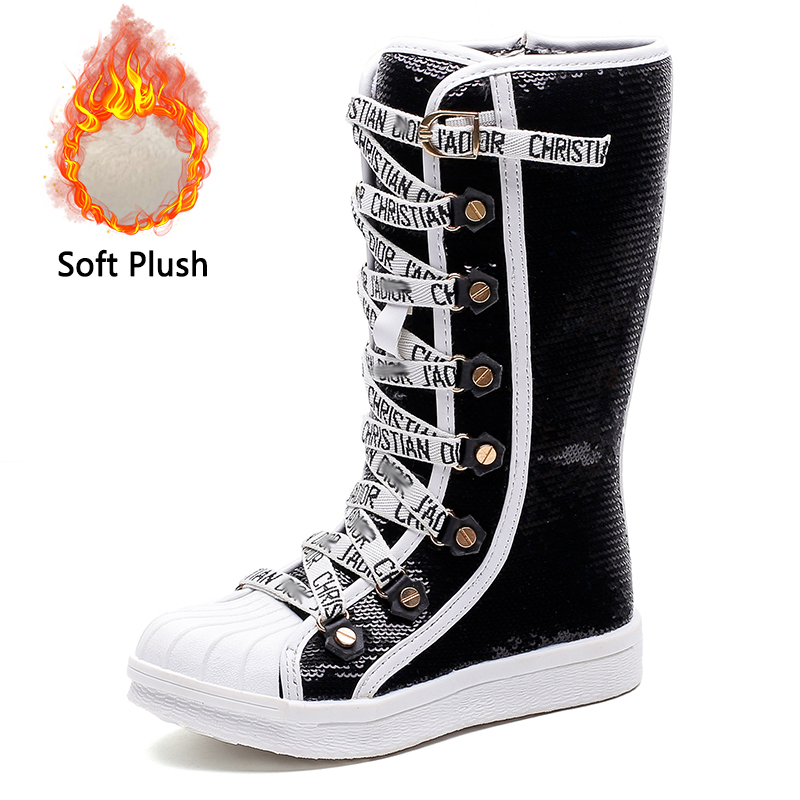 Sequins Pu Child Waterproof Shoes Kids Breathable Snow Boots Girls Children Rubber Bottom Winter Boots Baby Over The Knee Boots