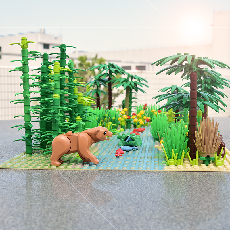 Rainforest Animal Fish Grass Tree Building Blocks Set with Baseplate City MOC Accessories Parts Bricks DIY Kids Toys Gifts (2)