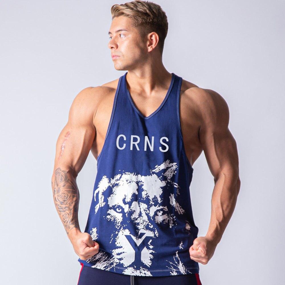 Gym Tank top Men Fitness Bodybuilding Sleeveless Shirt Male Stringer Singlet Summer Casual Print Vest Undershirt Workout Clothes