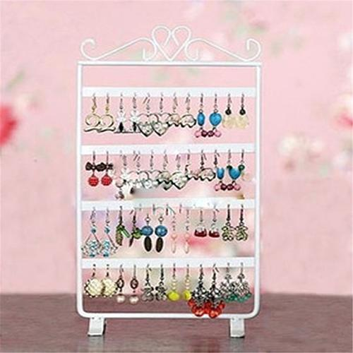 48 Holes Earrings Hanging Rack Jewelry Organizer Holder Metal Ear Stud Display Stand Necklace Hang Stand Jewelry Show Rack Black