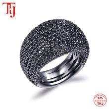 TKJ Anillo de espinela negra para mujer, joyas de piedras preciosas de Plata de Ley 925 auténtica para mujer, piedras redondas, regalo de joyería de compromiso de boda
