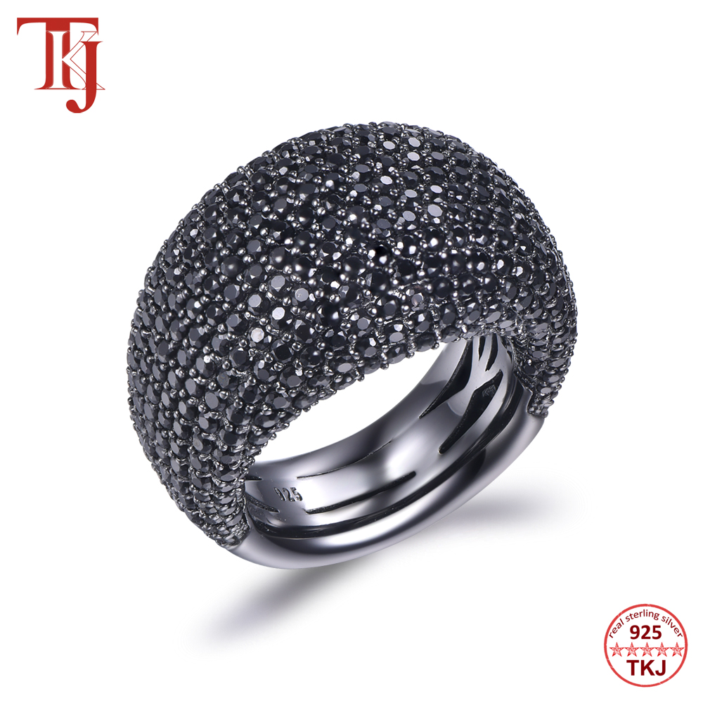 TKJ Fashion Black Spinel Ring Real 925 Sterling Silver Gemstone Rings For Women Round Stones Wedding Engagement Jewelry Gift