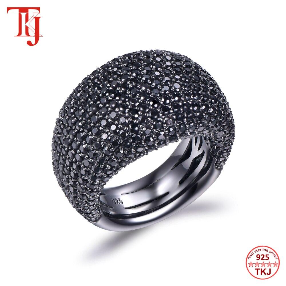 TKJ mode noir spinelle anneau réel 925 en argent Sterling pierres précieuses anneaux pour les femmes pierres rondes de mariage fiançailles bijoux cadeau