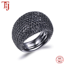 Tkj moda preto spinel anel real 925 sterling silver gemstone anéis para as mulheres pedras redondas casamento noivado jóias presente