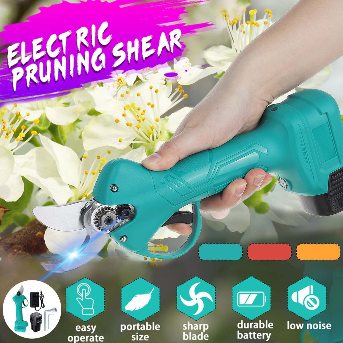 98V Cordless Electric Pruning Shears Rechargeable Professional Power Pruner Branches Pruning Tools Scissor with Li-ion Battery