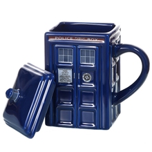 Police Box Ceramic Mug Cup with Lid Cover for Tea Coffee Mug Funny Creative Gift Christmas Presents Kids Men
