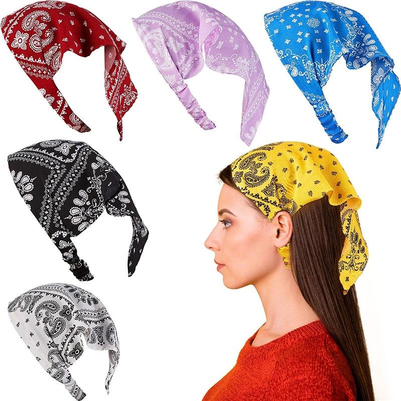 Hot Triangular Bandage Printed Fabric Hairbands Scrunchies Women Girls Headband Hair Head Bands Accessories Headbands Headwear