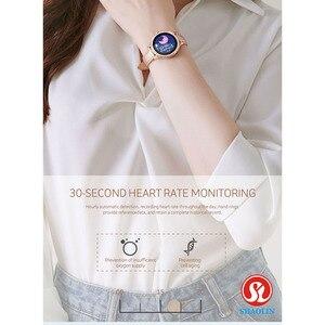 Image 4 - ใหม่ล่าสุดแฟชั่นผู้หญิงสมาร์ทนาฬิกาหน้าจอสีIP68กันน้ำหญิงสรีรวิทยาเตือนสำหรับApple IOS Bluetooth PK S9