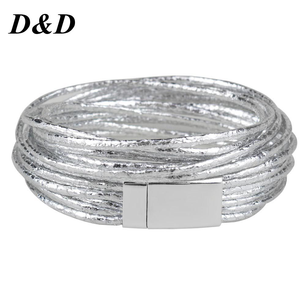 DD 4 Colors Multiple Layers Leather Bracelets Bangle Women Rope Chain Charms Bracelets Jewelry Gifts