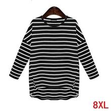 Duży rozmiar damski T-shirt w paski plus rozmiar 5XL 6XL 7XL 8XL letni okrągły dekolt z długim rękawem luźny czarny duży rozmiar T-shirt top tanie tanio COTTON Poliester Pełna REGULAR Suknem cyf5199 NONE Na co dzień O-neck Tees Tops Women