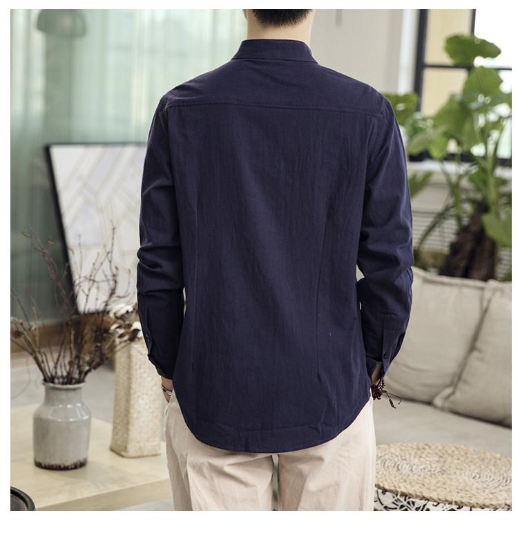 Image 2 - Button Collar Long sleeved Blouse Mens Shirt Chinese style Slim Linen Shirt for Mens clothing AutumnCasual Shirts   -