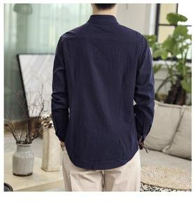 Image 2 - Button Collar Long sleeved Blouse Mens Shirt Chinese style Slim Linen Shirt for Mens clothing Autumn