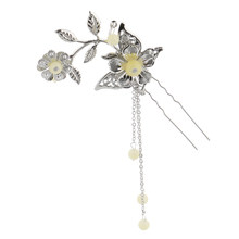 Long Tassel Flower Beads Ancient Chinese Cosplay Drama Hair Clip U Pin Pick Headwear(China)