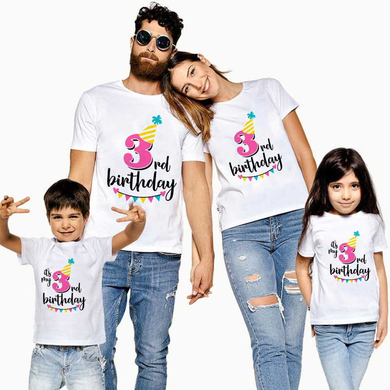 1PC It's My 3rd Birthday Family Matching Clothes Mommy Daddy And Daughter Son Birthday Tshirts Outfit Baby Girl Boy Party TShirt
