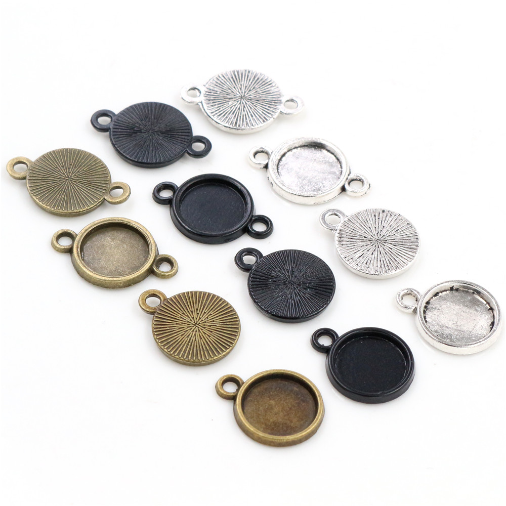 50pcs 10mm Inner Size Antique Bronze Silver Plated And Black Plated 6 Simple Style Cabochon Base Cameo Setting Charms Pendant