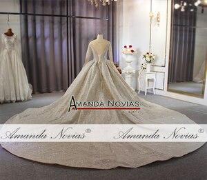 Image 5 - 2020 두바이 럭셔리 웨딩 드레스 긴 소매와 무거운 구슬 신부 드레스 100% 진짜 작업 고품질