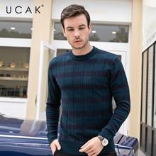 UCAK Brand Pure Merino Wool Sweater Men Casual Striped Pull Homme O-Neck Pullover Men Autumn Winter Warm Cashmere Sweaters U3093