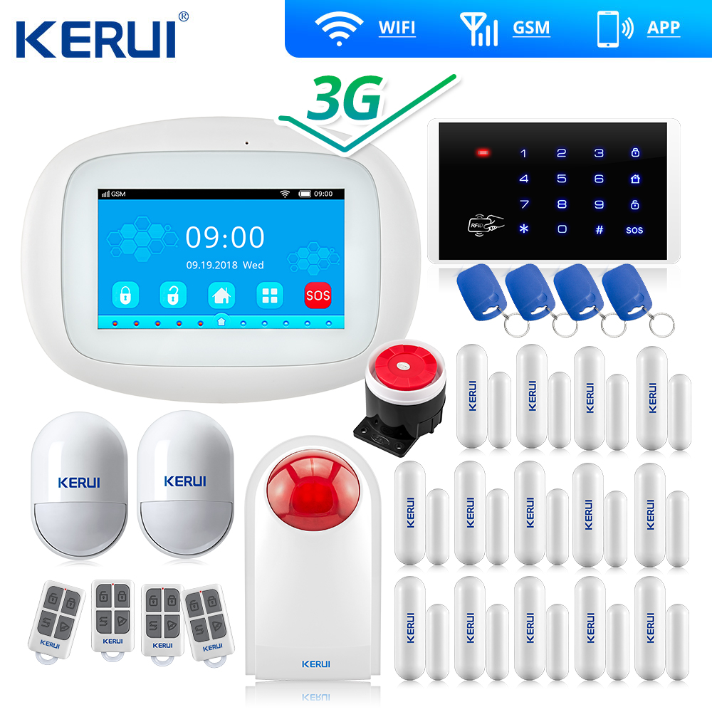 2020 3G 4G Kerui K5 WIFI GSM Alarm Touch Screen  Security Home Alarm System Smart Door Open Reminder  Flash Siren Keyboard RFID