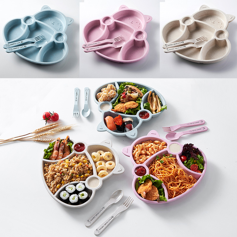 3pcs Baby Feeding Food Tableware Cartoon Cat Kids Dishes Children Eating Dinnerware Set Anti-hot Plate Training Bowl+spoon+fork