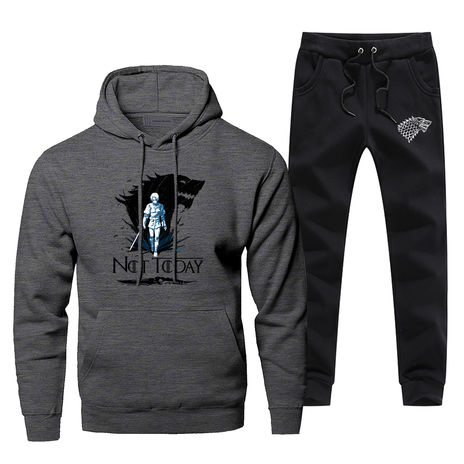 No Today Arya Stark Hoodies Sweatshirts Casaul Fashion Pants Tracksuit Game Of Thrones House Stark Men's Full Suit Tracksuit
