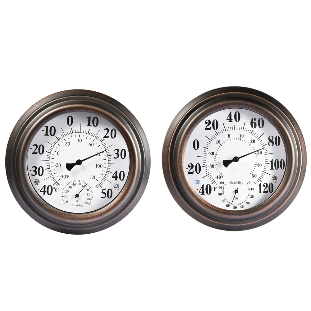 20cm Indoor Outdoor Thermometer Hygrometer Antique Retro Painted Iron Shell Temperature and Humidity Measuring Instrument