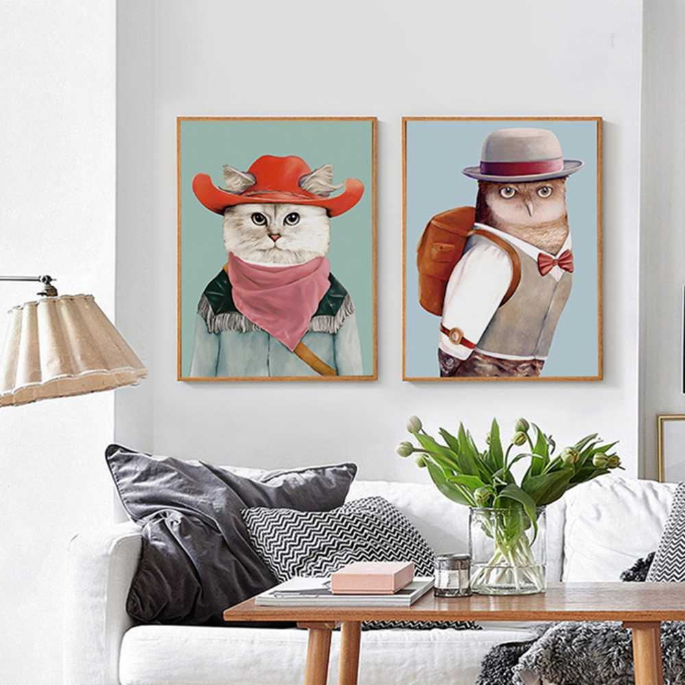 Kawaii Cartoon Animal Cat Poster Art Pictures On The Wall Canvas Painting Nordic Style Wall Pictures For Kids Room Home Decor
