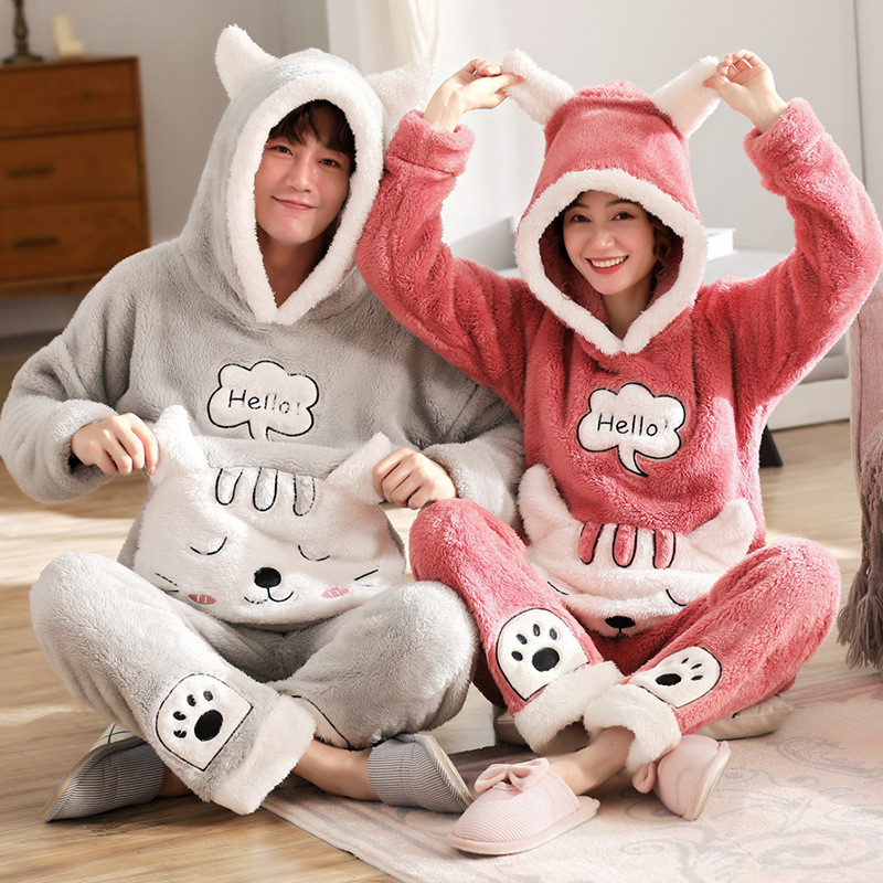 JULY'S SONG Couple Pajama Sets Flannel Winter Pajamas Long Sleeve Full Trousers Cute Warm Thick Flannel Homewear Suit