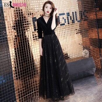 ES2758  Half sleeves V Neck evening gown black gown formal dress long 2019 muslim evening dresses party vestidos de fiesta
