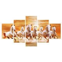 Çerçeve 80x150cm Sanatsal Hayvan Yedi Beyaz at yağı Tuval üzerine Boyama Posterler ve Baskı Modern duvar tablosu Oturma odası